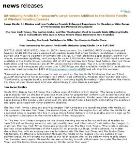 Amazon Kindle - Newspaper Launch Press Release